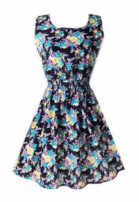 Generic Womens Classic Sleeveless Sundress Summer Floral Mini Dress