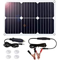 MEGSUN 18V 12V 18W Solar Car Power Battery Charger, Portable Solar Panel Trickle Charger with Cigarette Lighter Plug, Suction Cups, Maintainer for Automobile Motorcycle Boat