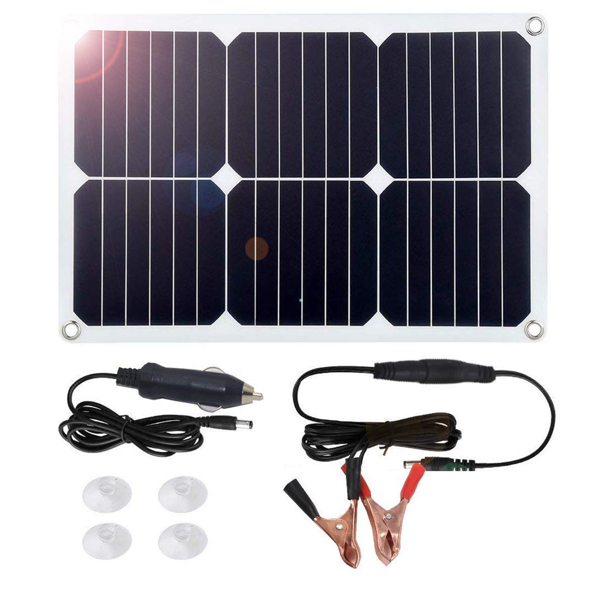 MEGSUN 18V 12V 18W Solar Car Power Battery Charger, Portable Solar Panel Trickle Charger with Cigarette Lighter Plug, Suction Cups, Maintainer for Automobile Motorcycle Boat by M MEGSUN