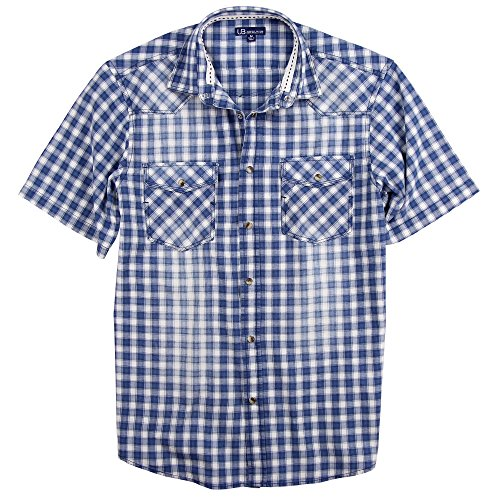 Slim Western Pearl Snap Shirt (UB Apparel & Gear Men's Short Sleeve Plaid Pearl Snap Western Shirt (Blue/White, Modern Fit: Large))