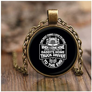 8b90f0f9 CARONECK My Dad is A Truck Driver Necklace Antique Brass, I Love My Trucker  Necklaces (Necklace - Antique Brass - Black) | Amazon.com