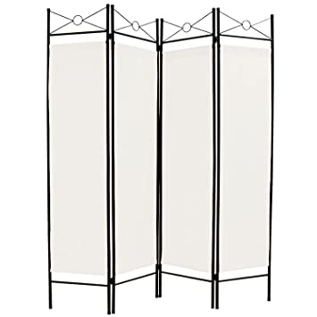 Room Divider Screen Folding Paravent 4 Panel Partition Wall Panel Privacy Furniture White Cream