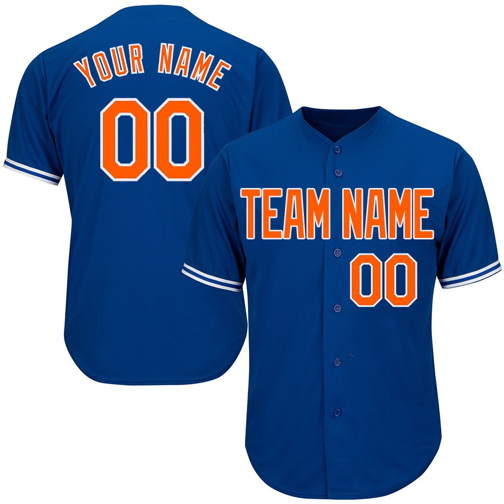 DEHUI Customized Youth Royal Blue Full Button Baseball Jersey with Stitched Team Name Player Name and Numbers,Orange-White Size 3XL by DEHUI