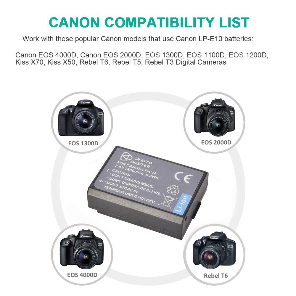 PHOTO MASTER 1200mAh LP-E10 Replacement Battery for Canon EOS 4000D, 3000D,  2000D, 1500D, 1300D, 1200D, 1100D, Kiss X70, Kiss X50, EOS Rebel T6, Rebel