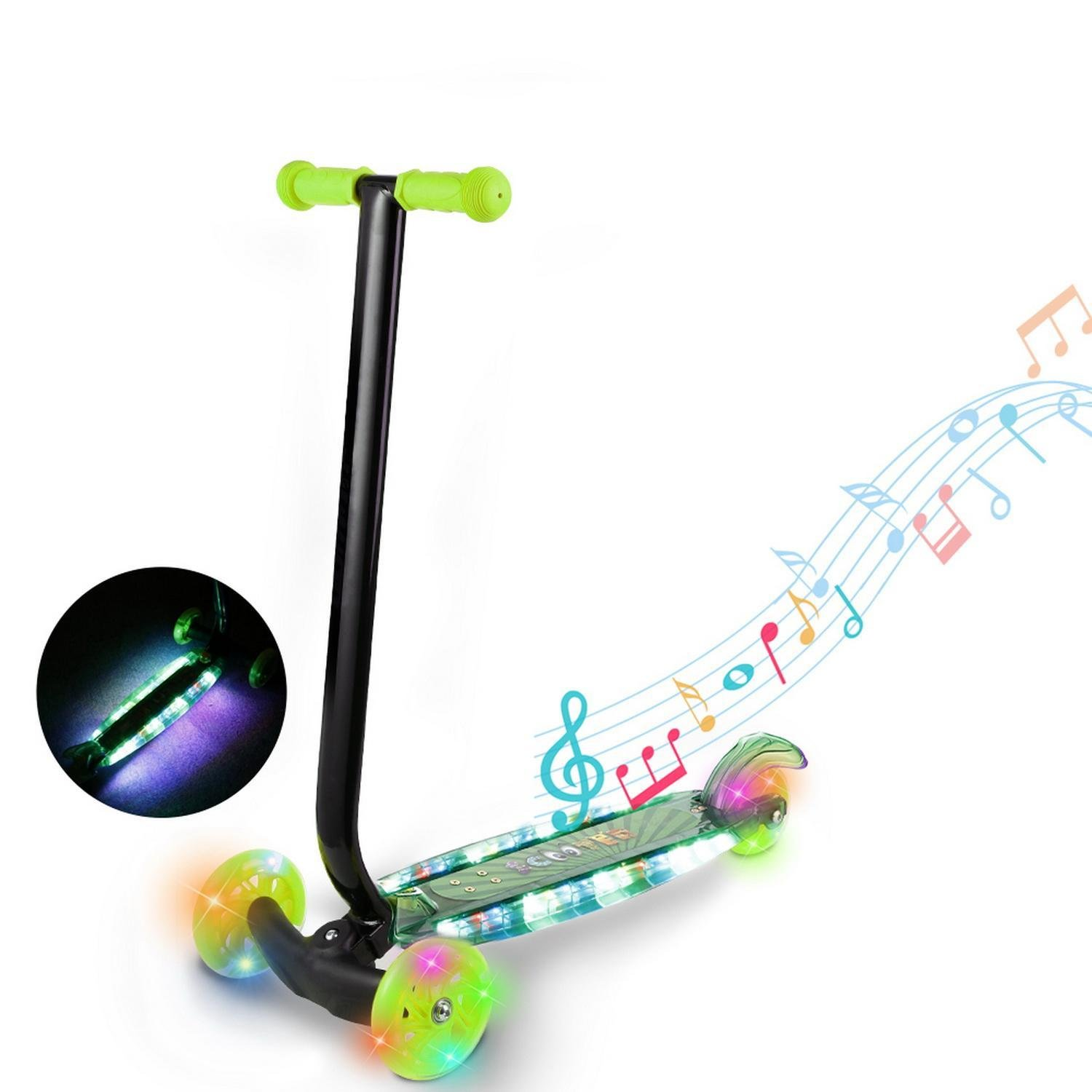 Skylin Child Kids 3-Wheel Kick Scooter with LED Light Up Wheels and Music with Adjustable Height/LED Flashing Wheel/Wide Durable Deck