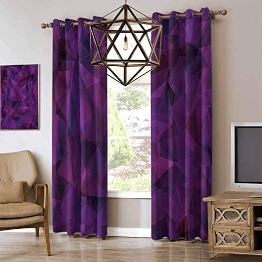 Amazon Com Renteriadecor Indigo Couple Bedroom Exclusive Curtains Broken Glass Inspired Geometric Triangle Abstract Shapes Kitchen Curtains Eggplant Purple Lilac And Burgundy W96 X L108 Inch Home Kitchen