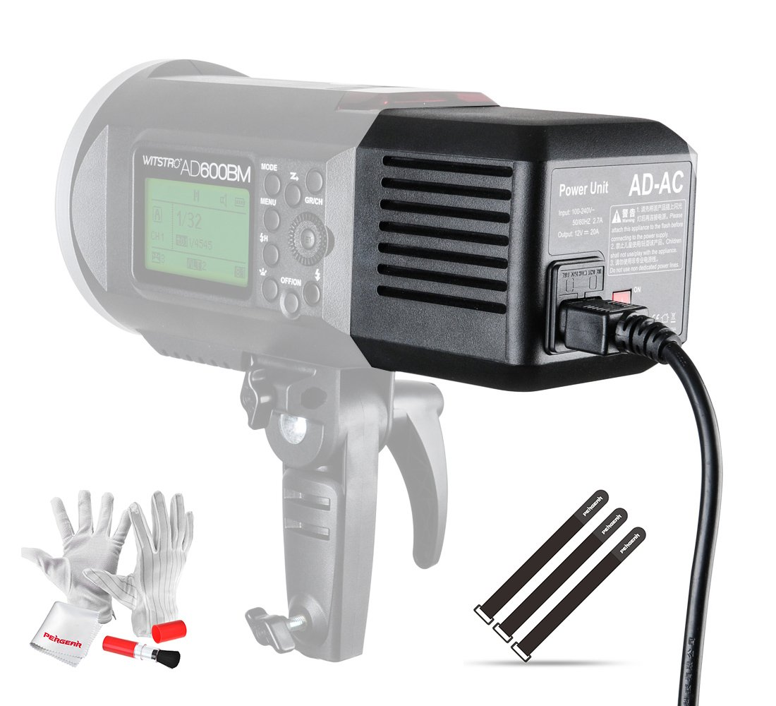 Godox AD600 AD-AC Power Source Adapter with 16.4'/5m Cable, Pergear Clean Kit and Pergear Magic Stickers for Godox AD600 AD600B AD600M AD600BM Flashpoint XPLOR 600 Flash Strobe Lights