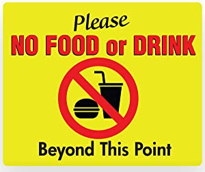 "NO Food or Drink Beyond This Point Sign – PVC 11"" x 9"""