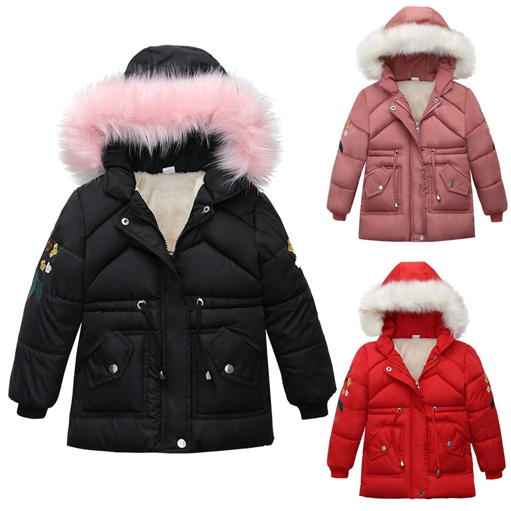 Diufon Fashion Infant Toddler Children Newborn Long Sleeve Bear Hooded Striped Solid Color Warm Solid Cotton Overcoat Jacket (2-3 Years, Red 01) by Diufon