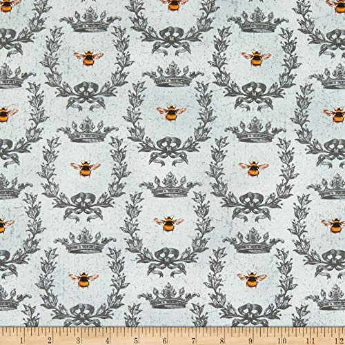 Wilmington Le Bouquet Queen Bee Gray Fabric by the for sale  Delivered anywhere in USA