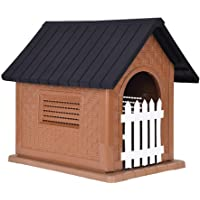 Outdoor Pet Dog House | Indoor Dog Kennel Plastic Waterproof Kennels Pet House Home Shelter for Dogs with Skylight
