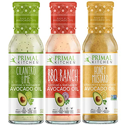 (Primal Kitchen Avocado Oil Dressing & Marinade NEW Flavors 3 Pack Dressing - Cilantro Lime, BBQ Ranch, and Honey Mustard)