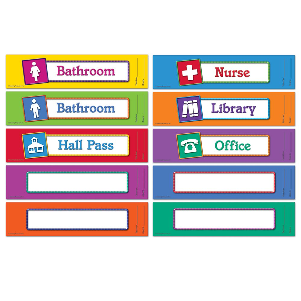 Amazon.com : Learning Resources Magnetic Hall Passes, Set of 10 ...