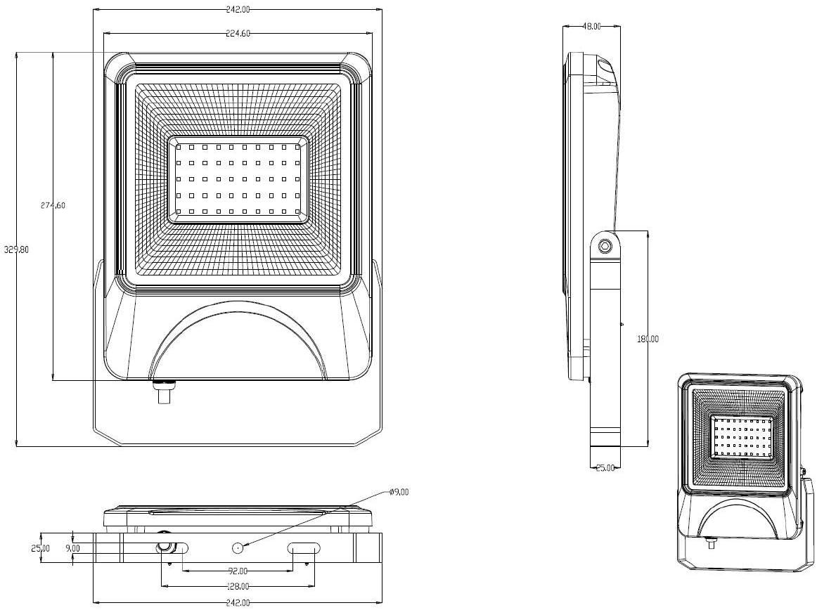 3300 lumens Spotlight Projecteurs ombres fortes 6000 Kelvin blanc froid Projecteur LED 30W avec un angle de faisceau de 120 /°
