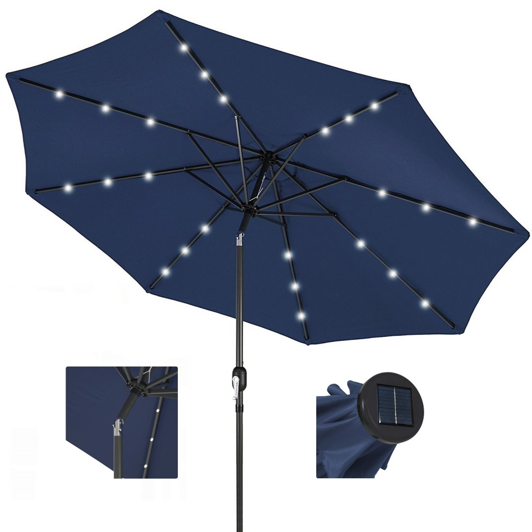 10ft Outdoor Patio Aluminium Umbrella Sunshade UV Blocking Pre-installed Solar Power LED w/Hand-Crank and Tilt System - Navy #1901