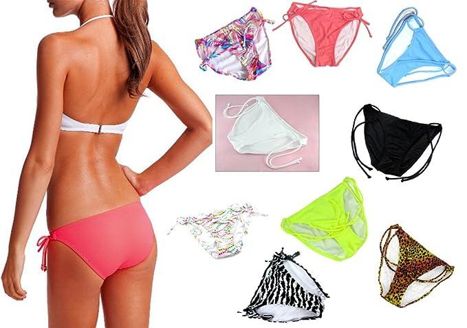 64a045bd9bc6f Amazon.com  Malinsa Women s Side Straps Bikini Bottom Low Waist ...