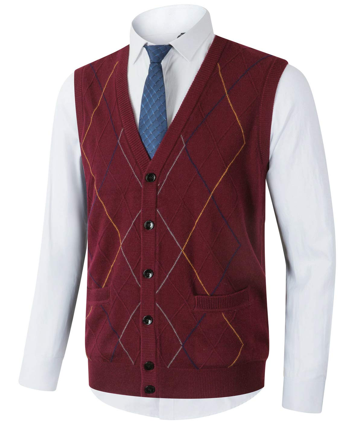 Homovater Mens Casual V-Neck Knitted Vest Sleeveless Sweaters Cardigan Button Down Knitwear Tank Top with Ribbing Edge Argyle Burgundy, Small by Homovater