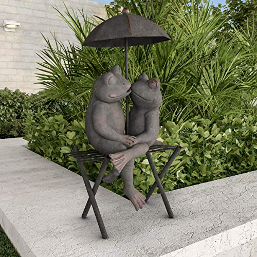 Pure Garden 50-LG1104 Frog Couple Statue-Resin Romantic Animal Figurine for Outdoor Lawn Decor for Flower Beds, Fairy Gardens, and ()