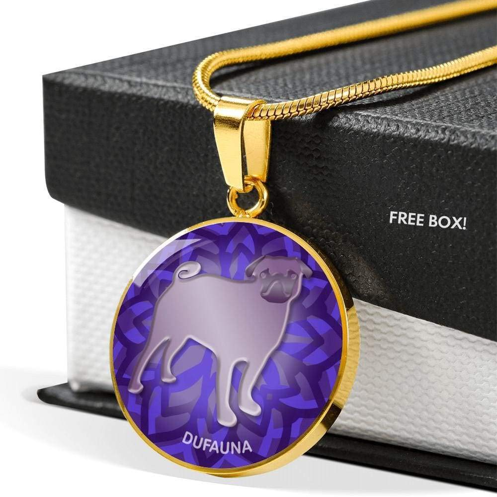 Many Colors DuFauna Purple Pug Silhouette Necklace D18 18-22 Steel or 18k Gold Finish