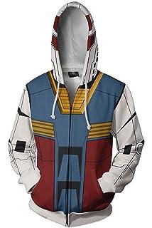 S-6XL Gundam Cosplay Zipper Fleece Sweater Casual Jacket Hoodie Long Sleeve Coat