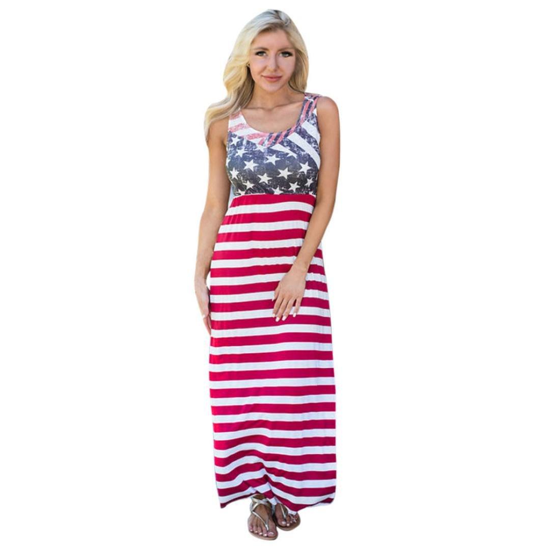 Usstore Women Dress Ladies Summer Vintage Sleeveless Striped Long Dresses (XL)
