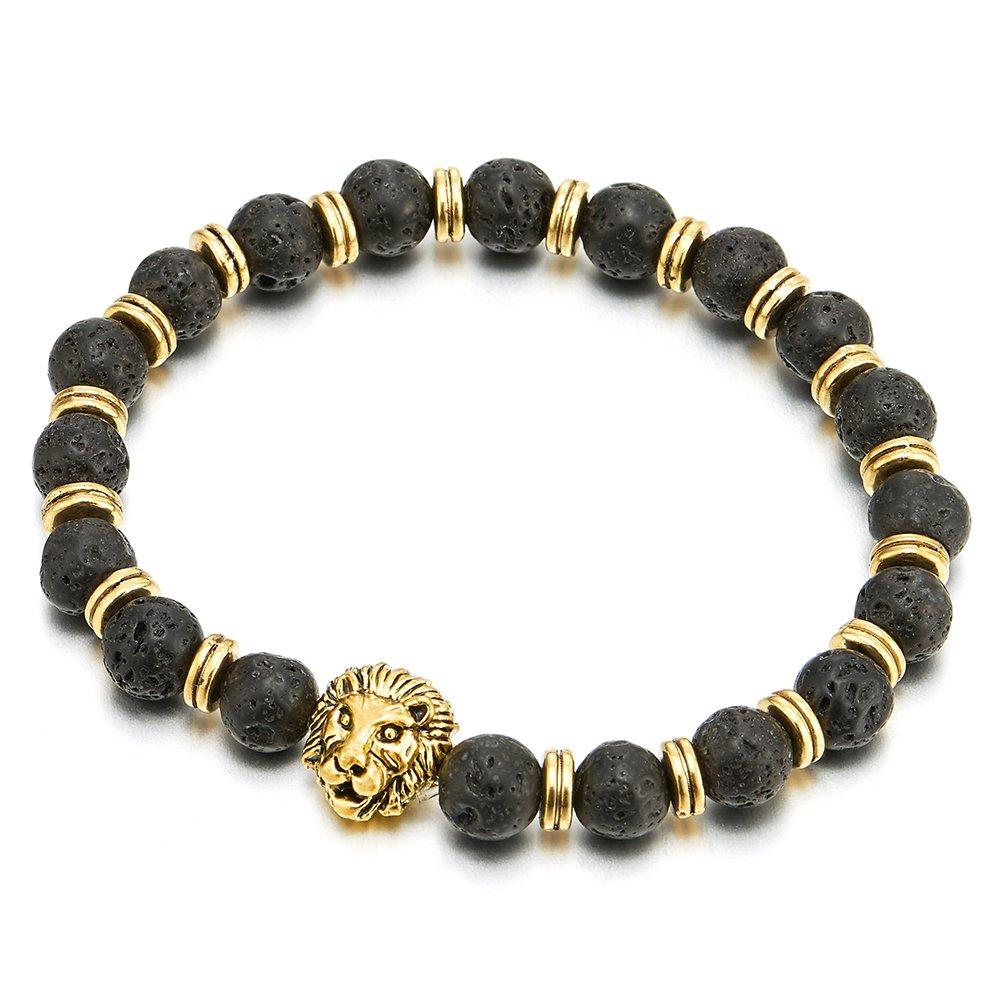 Homme Femme 8MM Noir Pierre Volcanique Volcan Perle Bracelet AVCE Couleur Or T/ête de Lion et Charmes