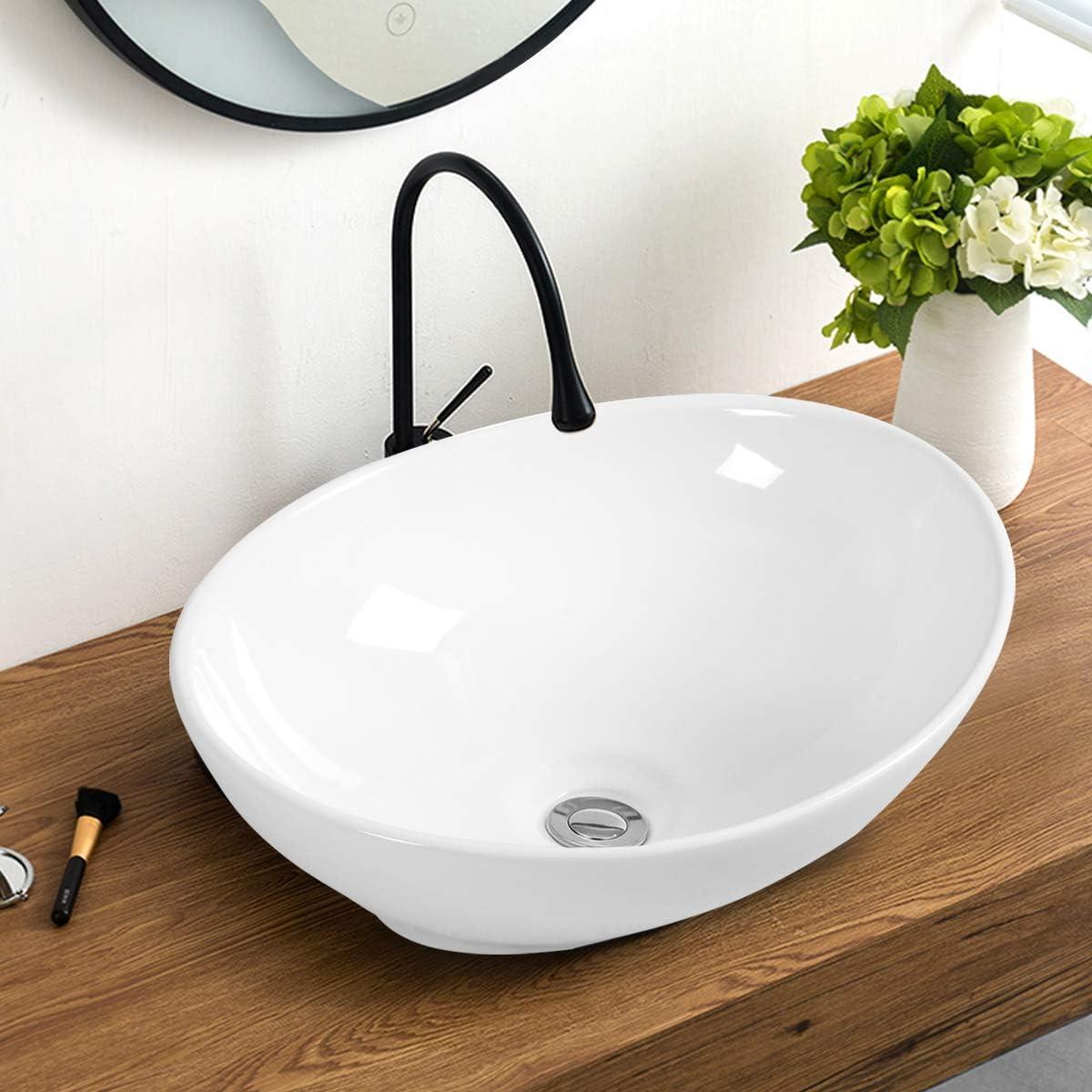 Giantex Vessel Sink 16x13 Inch Basin Porcelain W Pop Up Drain Oval Bathroom Ceramic Sink Bowl Amazon Com
