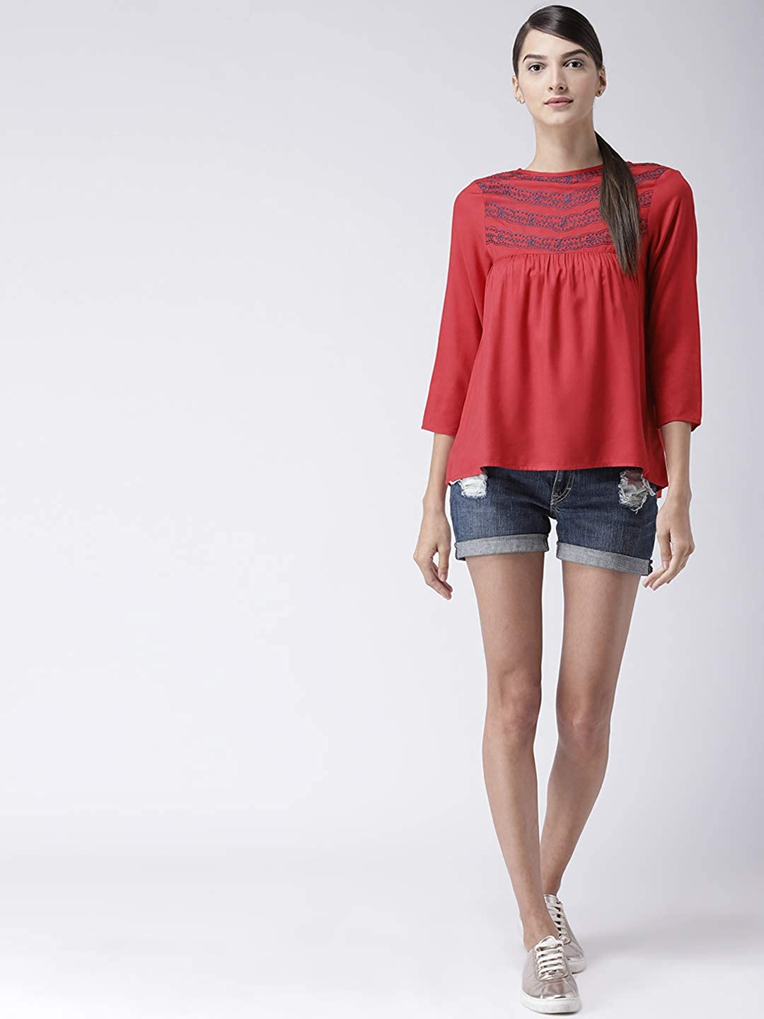Women Printed A-Line Round Neck Casual Top