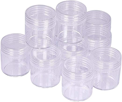 Plastic Storage Containers Pots With Screw Lid For Beads Jewellery 60ml x 10