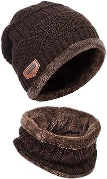 Sombrero de Invierno con Bufanda para Hombre y Mujer Gorro de ...