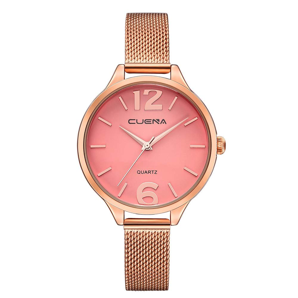 Iuhan Wrist Watch for Women Girls Holiday Deals, Women's Luxury Watches Quartz Watch Stainless Steel Dial Casual Bracelet Watch Great Gift for Christmas (Pink) by Iuhan  (Image #1)