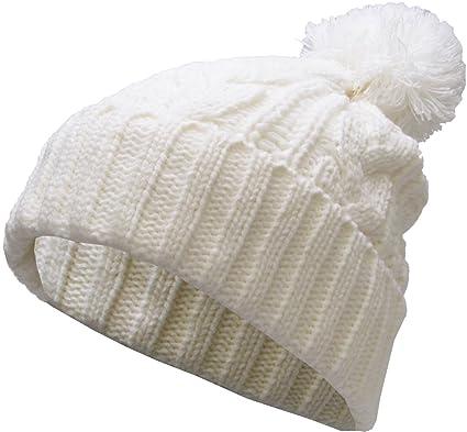 6f551d837dd KBW-510 WHT Slouchy Cable Knit Pom Pom Beanie Winter Cap Chunky Skull Hat  Ski