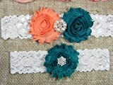 Wedding Garter Set, Bridal Garter Belt, Peach and Teal Garter, Keepsake and Toss Stretch Lace Garters