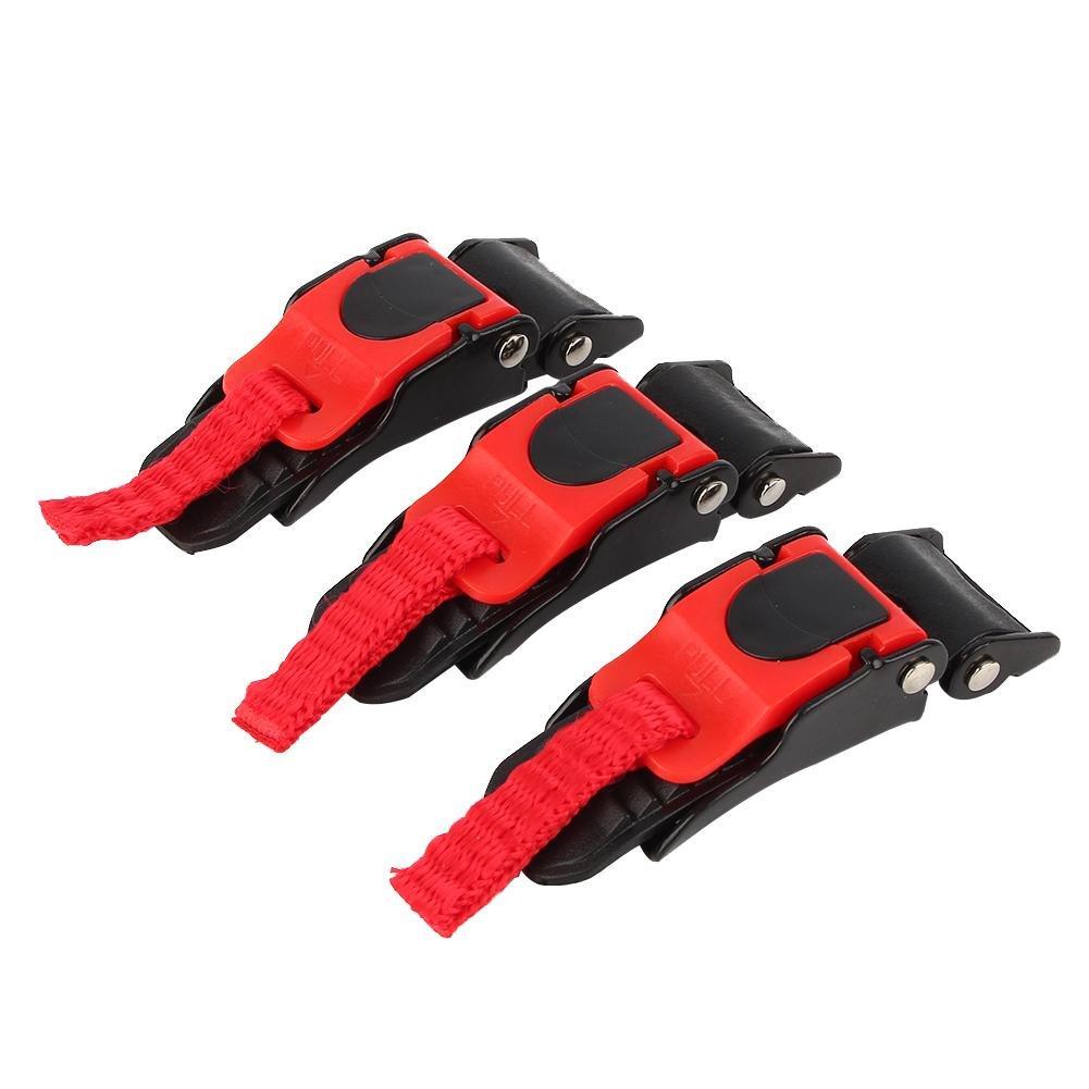 Qiilu 3 x casque de moto Speed Clip Quick Release Sangle de menton Bouton Pull Boucle pour vé lo
