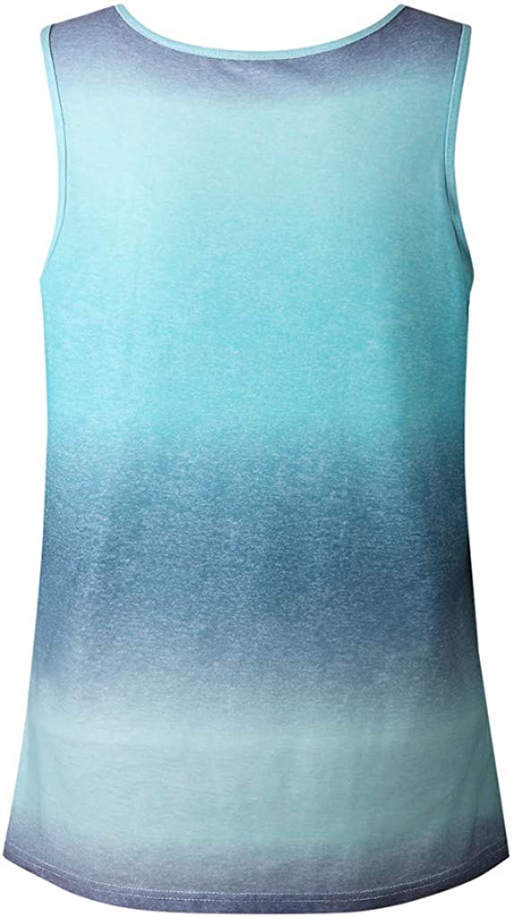 Sleeveless Gradient Printed Blouse T-Shirt Tunic Fashion CCatyam Tanks Top for Women