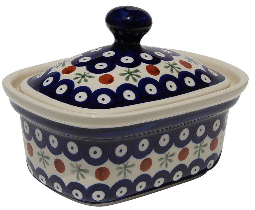 Polish Pottery Butter Tub From Zaklady Ceramiczne Boleslawiec 1188-41 Classic Pattern