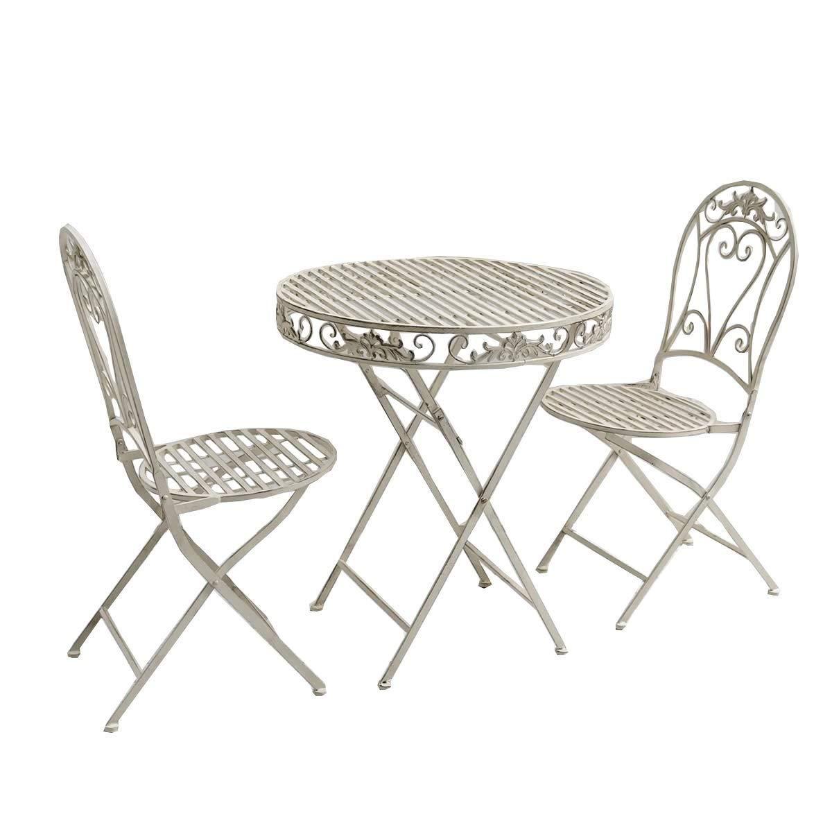 ガーデンテーブル 3点セット 折りたたみ 2人用 アンティーク アイアン ホワイト B07G7Z49N3 ホワイト