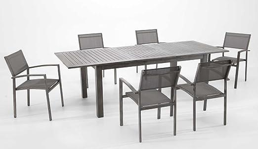 Conjunto terraza y jardin aluminio envejecido Range (1 mesa extensible + 6 sillas): Amazon.es: Jardín