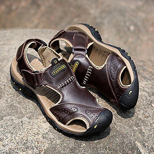 Homme Fermée Bout Souple De Aquatique Foncé Été Plage Antidérapant Sandale Chaussure Sport Cuir Brun rqwxTFrUa