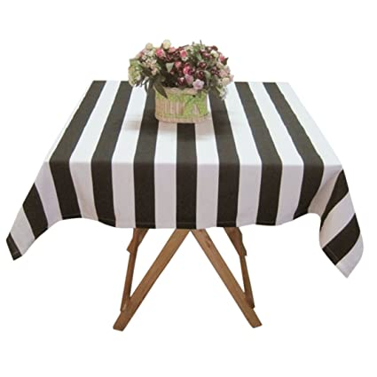 Ustide Black And White Striped Tablecloth Cotton Canvas Table Cover,  Square, 55u0027u0027