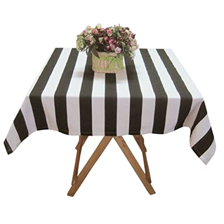 Ustide Large Black And White Striped Tablecloth Cotton Tablecloth  Restaurant Table Cover For Party, Oblong