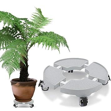 Soporte Ruedas Maceta con Frenos de ABS + Acero Inoxidable Soporta 200kg Tamaño Ajustable 30-50cm: Amazon.es: Jardín