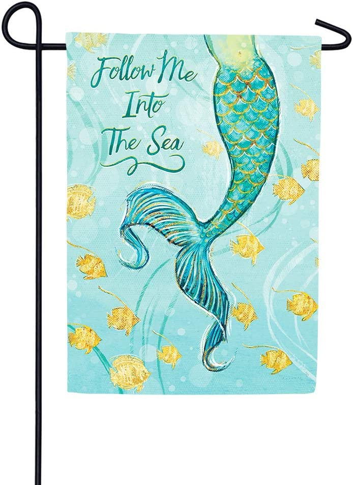 Custom Decor Mermaid Tail - Follow Me Into The Sea - Garden Size, Decorative Double Sided, Licensed and Copyrighted Flag - Printed in The USA Inc. - 12 Inch X 18 Inch Approx. Size