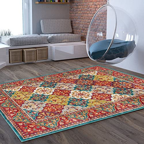 Craft Modern Distressed Area Rug 7 10 x 9 10 Bohemian Transitional Eclectic Rug Soft Living Dining Room Multi Color Carpet