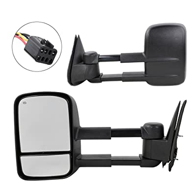 MOTOOS Towing Mirrors Fit for 1999 2000 2001 2002 Chevrolet Chevy GMC Silverado Sierra 1500 2500HD 3500HD Tahoe Yukon Pickup Power Heated Towing Mirrors Pair Manual Telescoping Side Mirrors: Automotive