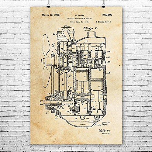 Henry Ford Internal Combustion Engine Poster Print, Car Lover Gift, Auto Mechanic, Repair Shop, Vintage Automobile (Model Ford Henry Car)