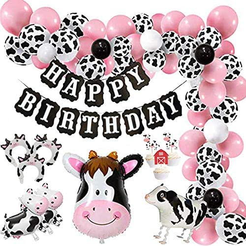 Funny Cow Party Decorations Balloon 85pcs Arch Garland Kit with Happy Birthday Banner, Cow Print Balloons Baby Pink Balloons, Walking Cow Mylar Balloon for Farm Birthday Party Farm Animal Theme Party