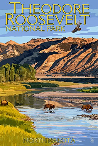 Theodore Roosevelt National Park, North Dakota - Bison Crossing River (9x12 Art Print, Wall Decor Travel Poster) ()