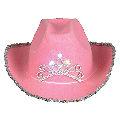 Rhode Island Novelty Child Pink Cowboy Hat with Blinking Tiara 2-Pack: Toys & Games