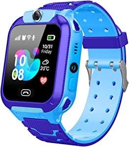 Kids 14.1mm Ultra-Thin Smartwatch Phone HD Voice Call LBS Tracker Watch with SOS Camera Alarm Game for 3-12T, Blue
